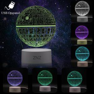 3D LED Star Wars Luz de noche, Lámpara de ilusión Death Star + R2-D2 + Millennium Falcon